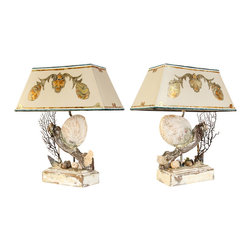 Custom Pair of Sea Shell Lamps - Welcome to our new collection of oceanic custom lamps made with real pieces no plasters or resina. We convert each piece into beautiful custom lamps using many steps. In some pieces we combine styles of luxurious European antiques with the clean elegance of modern day designs. These Lamps are unique and one of a kind perfect for beach homes, beach hotels, or for any of your lighting project needs. large orders may be placed through request only.