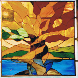 Stained glass panels - Back lit, Stained glass window panel: Tree of Life, Stained glass & photographs by Lauren Shiner