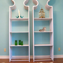 Hollywood Regency Moroccan Tall White Wicker Étagère Shelves by Fabulous Mess! - These curvy beauties are not your run-of-the-mill bookcases. Wouldn't they be stunning with gold and black pieces mixed in among books?