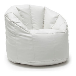 Comfort Research - Big Joe White Vegan Milano Chair - Some say the streets of Milan are paved with fashion. We_d say those people may need a refresher course in what streets are made of, but that_s neither here nor there. The Milano blends comfortable, stylish and fashionable Shag Fur or Vegan Leather s with just the right amount of back and arm support. You_ll be relaxing faster than you can say, _Ciao bella!_ Made with soft, durable faux leather.  Filled with UltimaX Beans that conform to you.  Double stitched and double zippers for added strength and safety. Spot clean. Please note this item requires an additional shipping timeline of 10-14 days.