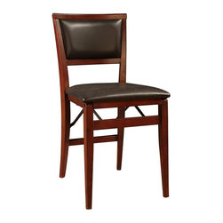 Linon - Keira Pad Folding Chair - Set of 2. Dark Brown Vinyl Padded Seat. Fully Assembled. Weight Limit: 250 lbs. Rich Espresso Finish. 17 in. W x 19 in. D x 33 in. H (29.76 lbs)Stylish seating with the convenience of a folding chair. This pair of folding chairs adds an extra dash of elegance for dining or entertaining. The wood frames feature a classic pad Back and a wipe clean, vinyl padded seat with the appearance of leather, and a rich Espresso finish. Front and rear supports provide extra stability. The space saving chairs fold for easy set up and storage.