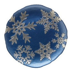 """Vietri Snowflake Blue Glass Salad Plate Italian Dinnerware - This beautiful salad plate is made with luminous glass and is decorated with elegant silver snowflakes that appear three-dimensional beneath the smooth surface.  This holiday piece is sure to make happy memories.    This plate is 8.25"""" in diameter."""