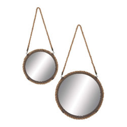 Benzara - Round Rope Hanging Wall Mirror an Antique Gold Bronze Decor (Set of 2) - Rustic and elegant round rope hanging wall mirror with an antique gold and bronze finish living and dining room decor
