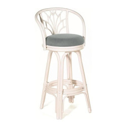 Hospitality Rattan - Indoor Swivel Rattan-Wicker 30 in. Bar Stool in Whitewash Finish (Canvas Natural - Fabric: Canvas Natural. Made of Rattan Poles & Woven Wicker. Finished in White Wash Color. Includes cushion with choice of fabric in a variety of colors and patterns. Swivel Mechanism included. Constructed of commercial quality rattan poles. Requires Some Assembly (Instructions Included). Overall: 21 in. L x 21 in. W x 42 in. H (17 lbs.)A traditional wicker and rattan swivel barstool that is built with solid rattan pole construction. The Valencia Collection offers three basic finishes. The barstools and counter stools feature commercial grade reinforced rattan bases, swivel mechanisms & reinforced double pole footrests. In addition your choice of over 45 fabrics is available on the Valencia Collection. Some Assembly Required.