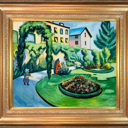 """overstockArt.com - Macke - The Macke Garden at Bonn (Gartenbild) - 20"""" X 24"""" Oil Painting On Canvas Originally painted in 1911, this lovely landscape scene is of the artist's own yard. The Macke Garden at Bonn has well defined geometric shapes mixed with the blurred lines of Impressionism show integration between the two disciplines. The cool arrangement is bright and cheerful. This piece would make a wonderful addition to any room. August Macke (1887 - 1914) was one of the leading members of the German Expressionist group Der Blaue Reiter (The Blue Rider). His style was formed within the mode of French Impressionism and Post-Impressionism and later went through a Fauve period. Macke preferred harmonious scenes with ordinary subjects in everyday situations; he found the beauty in the banality of ordinary experiences. Macke concentrated on color and style to create depth and feeling. His highly developed style integrates Cubism and explores color variations to define the spatial relationship between hues. His overall life's work is a collection of stunning color and quiet scenes; the development of his peerless style is said to be the precursor to modern art."""