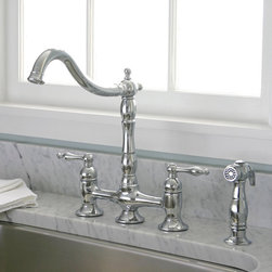 Premier - Charelstown Bridge-Style 2-Handle Chrome Kitchen Faucet - Two-handles make it easy to adjust the Charelstown Bridge-Style faucet to the ideal temperature. Designed with wear-resistant brass,this durable chrome faucet will add modern style to your kitchen space.