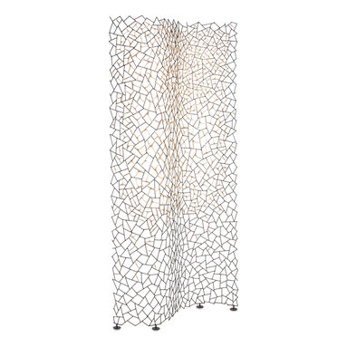 Hive - Kris Kros Screen - The Kris Kros Screen features an elaborate series of randomly cut bamboo twigs, offering a stunning accent to little geometric design details. Available in Black or White. 77.375 inch height x 35.5 inch width.