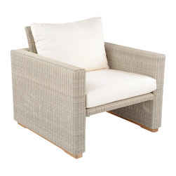 Westport Deep Seating Lounge Chair - By Kingsley Bate - The stylish WESTPORT lounge chair makes stunning accent seating, or may be intermingled with our WESTPORT sectional for a complete lounge area.  The piece has handsome teak bases and is constructed using only the finest all-weather wicker.
