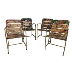 Set of 4 Rustic Garden Chairs - $1,200 Est. Retail - $575 on Chairish.com -