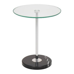 Lumisource - Ripple End Table - A modern end table that will add a bit of pizazz to any room. The Ripple End Table has a thick rippled glass table top and a marble base for sturdiness, style and class.. 17.5 in. Diam. x 22.5 in. H