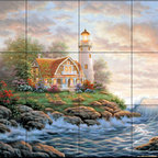 The Tile Mural Store (USA) - Tile Mural - Perfect Peace  - Kitchen Backsplash Ideas - This beautiful artwork by Judy Gibson has been digitally reproduced for tiles and depicts a lighhouse scene.  Our lighthouse tile murals and nautical themed decorative tiles are perfect as part of your kitchen backsplash tile project or your tub and shower surround bathroom tile project. Lighthouse images on tiles add a unique element to your tiling project and are a great kitchen backsplash idea. Use a lighthouse scene tile mural for a wall tile project in any room in your home where you want to add interest to a plain field of wall tile.