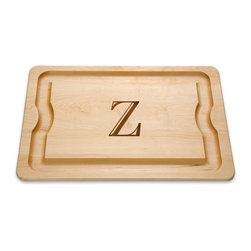 JK Adams - JK Adams Monogrammed BBQ Board - This large BBQ board is 1 inch thick and double-sided with a rim trench to hold sauce brushes or catch drippings. Available in all letters of the alphabet,the letter on this board is laser engraved into the wood,creating a dark brown image.