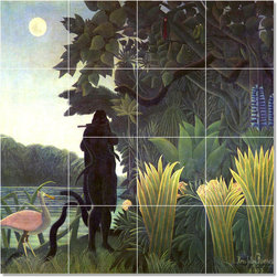 Picture-Tiles, LLC - The Snake Charmer Tile Mural By Jean Jacques Rousseau - * MURAL SIZE: 24x24 inch tile mural using (16) 6x6 ceramic tiles-satin finish.