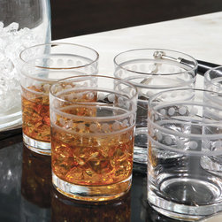 "Global Views - Global Views Double Old Fashion 2 Band Drinking Glasses Set of 6 - The Global Views Old Fashion drinking glasses serve classic cocktails in sleek style. Between two etched bands, a row of circles exudes geometric intrigue. 3.5"" Dia x 4.25""H; Sold as a set of 6"