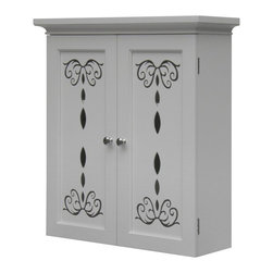 Elegant Home Fashions - Elegant Home Dallia 2 Door Wall Cabinet Multicolor - ELG-568 - Shop for Bathroom Cabinets from Hayneedle.com! The perfect place to store your toothbrush - the Elegant Home Dallia 2 Door Wall Cabinet is so sweet it may give you a toothache. This confection features darling floral cutouts for a design that is sure to pretty up your bathroom instantly. The clean white finish and crown molding detail are the icing on the cake. The doors open to reveal an adjustable shelf meaning you get storage options galore. You'll feel like a kid in a candy store with this darling cabinet in your space.