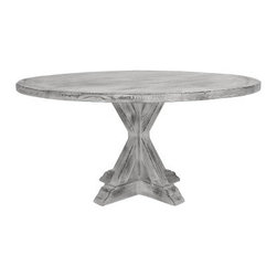 South Cone Montana 54 in. Round Counter Height Table - Solid timeless finished brilliantly – these are just a few of the words we can use to describe the South Cone Montana 54 in. Round Counter Height Table. Antique finish in your choice of white or gray. Crafted of high-quality wood and ably constructed with traditional joinery this magnificent table seats six and features a unique antique white finish that will warmly fit with your home decor for generations to come. Dining table only no chairs included. Table dimensions: 54L x 54W x 36H inches. About South ConeFounded 21 years ago South Cone began with a vision to bring the beauty of traditional handcrafts from South America to the United States. Today South Cone is one of the leading manufacturers of fine furniture with an extensive catalog of eclectic collections that range from contemporary to traditional to Spanish furniture. In addition to using only the finest materials and craftsmanship techniques with its own designs South Cone is environmentally conscious too. In 2001 when very few companies in the furniture industry were thinking about global warming South Cone invested a large amount of resources and time in obtaining FSC certification for their factory in Peru and their distribution center in the United States. As such South Cone has developed a reputation for being one of the finest most original furniture companies in America.