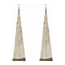 Arteriors - Howard Andirons, Set of 2 - These statuesque solid brass andirons have a strong architectural presence and are our tribute to antique obelisks from the 19th century. The polished nickel finish gives them a modern and glamorous feel.