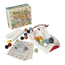 "Kids' Ringers and Bombers Game Kit - The kid's ringers and bombers game kit measures 5.2 x 4.5 x 2.4"". This marble games kit will appeal to the memory lane of the young of heart, but delight the hands and minds of even nowadays children. We prefer games that challenge both the mind and body. Dexterity is what's needed, speed of thinking to adapt to rules and invent new shapes and strategies. Hand-blown glass marbles please the eye with the depth of their bright and brilliant colors. Arrives in a fun box and daringly challenge Grandma to demonstrate and kids to develop..."