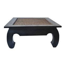 Pre-owned Vintage Ming & Rattan Coffee Table - This ming table is made of solid wood construction with a rattan center. Rattan has some damage but an accessorized tabletop can hide any imperfections.