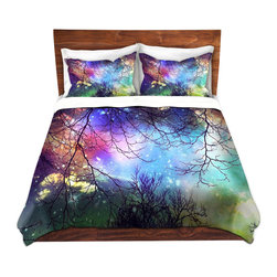 DiaNoche Designs - Duvet Cover Microfiber - Look to the Stars - DiaNoche Designs works with artists from around the world to bring unique, artistic products to decorate all aspects of your home.  Super lightweight and extremely soft Premium Microfiber Duvet Cover (only) in sizes Twin, Queen, King.  Shams NOT included.  This duvet is designed to wash upon arrival for maximum softness.   Each duvet starts by looming the fabric and cutting to the size ordered.  The Image is printed and your Duvet Cover is meticulously sewn together with ties in each corner and a hidden zip closure.  All in the USA!!  Poly microfiber top and underside.  Dye Sublimation printing permanently adheres the ink to the material for long life and durability.  Machine Washable cold with light detergent and dry on low.  Product may vary slightly from image.  Shams not included.