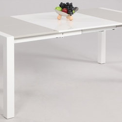 Chintaly Imports - Gina Contemporary Lacquer Parson Extendable Dining Table - Solid wood rectangular dining table finished in high gloss white. There are 2 20 leaves which extend the table from 39-79 in high gloss grey.