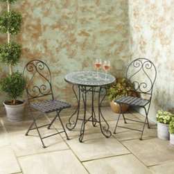 Sunjoy Industries Group Limited - 3-Piece Mosaic Bistro Set - Sit outdoors in style with this gorgeously detailed bistro set! Set includes 1 table and 2 chairs.