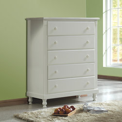 Tribecca Home - TRIBECCA HOME Macedonia White 5-drawer Chest - This white five-drawer chest,called the Macedonia,is a great addition to both modern and classic bedrooms. Made of rubberwood,this chest is built to last for decades,and each of the drawers come with metal glides that are easy to use.