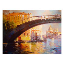 'The Bridge' Framed Oil Painting - Water under the bridge. Give your space a traditional touch with this original oil painting of Venice by Jian Wu. It's mounted in a hand-carved European-style antique gilded wood frame that looks perfectly at home in your formal living room, dining room or den.