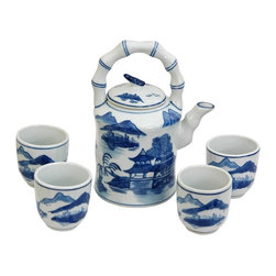 Oriental Unlimted - Blue & White Landscape Porcelain Tea Set - Includes large tea pot and 4 classic handless Japanese style tea cups. Fine Oriental porcelain tea set. Cups: 2.5 in. Dia. x 2.75 in. H. Teapot: 6.5 in. W x 4.5 in. D x 8 in. H (3.5 lbs.)