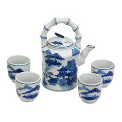 Oriental Unlimted - Blue & White Landscape Porcelain Tea Set - Includes large tea pot and 4 classic handless Japanese style tea cups. Fine Oriental porcelain tea set. Cups: 2.5 in. Dia. x 2.75 in. H. Teapot: 6.5 in. W x 4.5 in. D x 8 in. H (3.5 lbs.)