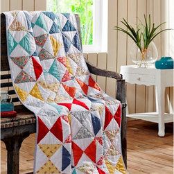 Cottage Home - Flying Geese Cotton Quilted Throw Blanket - The Flying Geese quilted throw blanket makes a wonderful companion for taking a nap on the sofa,watching television or just keeping warm on a chilly evening. Made from 100-percent cotton,this throw is machine washable for easy care.