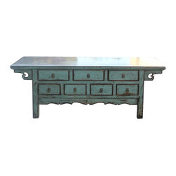 "Golden Lotus - Chinese Rustic Blue 7 Drawers Low TV Stand Cabinet - Dimensions:   w63"" x d17.5"" x h24"""