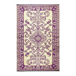 Achla - Violet Tracery Floor Mat - Color the ground you walk or sit on with these polyurethane woven floor mats. Spread them out at the beach, on the porch, floors in the kitchen and childrens rooms or hang them on the wall. Soft on the feet and easy to wipe clean. We recommended using carpet tape to hold them in place indoors. Our mats are made to last, but like everything else, we need to take good care of them. Ideally they should be kept rolled when not in use. Try to avoid leaving mats exposed to sun or rain for long periods of time. Wash by hand and allow to drip dry. Polyurethane, woven floor mats. Used both Indoor and Outdoor. Construction Material: Plastic. No Assembly Required. 48 in. W x 72 in. D x 0.25 in. H (3 lbs.)
