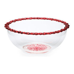 Frontgate - Kim Seybert Orange Acrylic Salad Bowl - Made from impact-resistant acrylic. Hand wash beverage dispenser; all others, top-rack dishwasher safe. Pair with our Coral Acrylic Drinkware. Also coordinates with our entire Kim Seybert Collection. The coral hue of the Kim Seybert Coral Serveware brings the taste of the tropics right to your backyard or beach house. This crystal-clear, impact-resistant acrylic collection features a beautiful coral accent.. .  . .