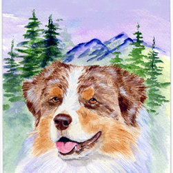 Caroline's Treasures - Australian Shepherd Glass Cutting Board Large Size - Large Cutting Board .. . Made of tempered glass, these unique cutting boards are some of your favorite artists prints. 15 inches high and 12 inches long, they will beautify and protect your counter top. Heat resistant, non skid feet, and virtually unbreakable!