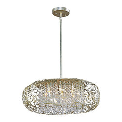 "Maxim - Maxim Arabesque 24"" Wide Golden Silver Pendant Light - Revel in the sheer opulence of this golden silver pendant light from the Maxim Arabesque collection. This beautiful golden silver pendant light features an intricate cut-out metal pattern orb in golden silver finish. An exquisite curtain of beveled crystal bead strands sparkles through warm Xenon lamps. A distinctive round pendant chandelier from Maxim Lighting that will add a touch of class to any room."