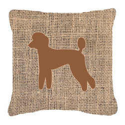 Caroline's Treasures - Poodle Burlap and Brown Fabric Decorative Pillow Bb1114 - Indoor or Outdoor pillow made of a heavy weight canvas. Has the feel of Sunbrella fabric. 14 inch x 14 inch 100% Polyester Fabric pillow Sham with pillow form. This pillow is made from our new canvas type fabric can be used Indoor or outdoor. Fade resistant, stain resistant and Machine washable.