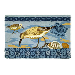 Homefires - Sandpipers Rug - Even if you forgot your binoculars you can enjoy the site of elegant birds in your home. Sandpipers peacefully grace upon this machine washable area rug. The cool colors reflect the calming nature of nature itself.