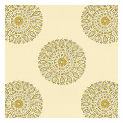 Light Green Sunburst Block Print Fabric - Blockprint sunburst medallion in curry yellow on lightweight cream cotton.  A touch of India for the free spirited nomad in you.Recover your chair. Upholster a wall. Create a framed piece of art. Sew your own home accent. Whatever your decorating project, Loom's gorgeous, designer fabrics by the yard are up to the challenge!