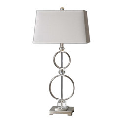 Uttermost - Rainier Modern Lamp - This Lamp Is Brushed Aluminum With Crystal Accents. The Rectangle, Tapered Hardback Shade Is Off-white Linen Fabric With Light Slubbing. Number Of Lights: 1, Shade: Rectangle, Slightly Tapered Hardback, Shade Size: Height: 10.5, Top: 9w X 16d, Bottom: 10w X 18d, Voltage: 110, Wattage: 150w, Bulbs Included: No