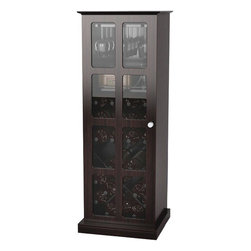 "Atlantic - Windowpane 24 Wine Cabinet - Stores a collection of wine bottles, glasses & amenities. MDF & glass frame. Stores up to 24 wine bottles. Holds up to 9 wine glasses. Storage shelf with retainer wire for accessories. Windowpane style door with tempered glass & brushed metal door-pull for easy viewing & access. X design . * Wire rack wine storage. * Espresso color with black steel rack. * Dim: 46""H x 15.65""W x 17""D. EspressoStore wine with ease with the Windowpane 24 Wine Cabinet. The wire rack wine storage holds a collection of wine bottles, glasses and amenities. With a MDF and glass frame, the cabinet stores up to twenty-four wine bottles and nine wine glasses. A storage shelf with a retainer wire stores accessories, while a windowpane-style door with tempered glass and brushed metal door-pull provides easy viewing and access. With a slick X design, the cabinet features an espresso color with a black steel rack. The cabinet's dimensions are 46""H x 15.65""W x 17""D."