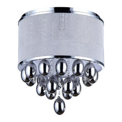 Warehouse of Tiffany - Sliver Drops Crystal Chandelier - Add some elegance to your home with this chrome-finished Silver Drops crystal chandelier. This dynamic lighting element features generous rows of cascading crystals to catch the light. Setting: IndoorFixture finish: ChromeMaterials: CrystalShades: MetalNumber of lights: Three (3)Requires three (3) 60-watt bulbs (not included)Dimensions: 15 inches high x 15 inches wide x 11 inches longThis fixture does need to be hard wired. Professional installation is recommended.CSA Listed, ETL Listed, UL Listed