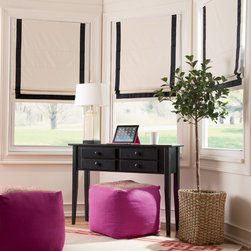 Contemporary Styles - Classic and contemporary style with this ribbon-trimmed cordless roman shade is so easy. Thermal insulated with blackout too, which saves on heating and cooling costs. This shade comes in a Natural with your choice of a black or taupe ribbon.