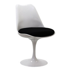 IMPORT LIGHTING - Tulip Side Chair Modern White side chair black seat cushion - The much-celebrated Tulipo Chair, The curves of the chair and the tulip shaped base completely eliminate the need for chair legs, which melds perfectly with the mid century modern ideals