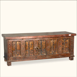 Rustic Reclaimed Wood Large Pirate's Stash Storage Trunk Chest -