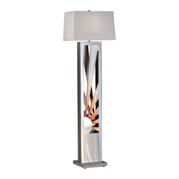 """Nova - Contemporary Nova Sunburst Aluminum Floor Lamp - This vibrant aluminum floor lamp is a celebration of modern Southwestern style. The tall open rectangular base in a rich brushed aluminum finish frames an incredible sunburst cut-out on each side highlighted in a rosy rust finish. A white linen shade tops off this distinctive design. A stylish addition to your home from Nova Lighting. Sunburst motif modern floor lamp. Brushed aluminum and rust finish. Cut-out aluminum construction. White linen rectangle shade. One max 100 watt bulb (not included). On/off rotary switch. Shade is 8"""" x 17"""" on top 9"""" x 18"""" on the bottom and 10"""" high. 60"""" high.      Sunburst motif modern floor lamp.  Brushed aluminum and rust finish.  Cut-out aluminum construction.  White linen rectangle shade.  One max 100 watt bulb (not included).  On/off rotary switch.  Shade is 8"""" x 17"""" on top 9"""" x 18"""" on the bottom and 10"""" high.  60"""" high."""