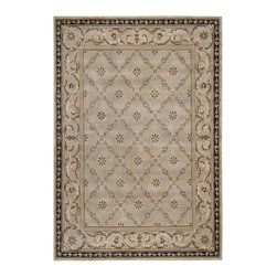 Nourison - Nourison Versailles Palace Oriental Panel Beige 6' Round Rug by RugLots - Fit for royalty, as the name suggests! This collection features stunningly elegant designs inspired by 18th Century French carpets and handmade with intriguing articulation from the highest quality wool. Features a dense, luxurious pile and hand-carved for added dimension with delicate accents that are a pleasure to both look at and touch.