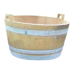 "Master Garden Products - Oak Bucket Handcrafed From Reclaimed Wine Barrel, Lacquer Finished, 26""W x 16""H - All colors shown in the pictures may vary because these are made from used wine barrels, each one is different as we get them."