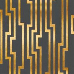 York Wallcovering - Velocity Unpasted Wallpaper - Velocity Dark Grey and Gold Geometric Striped Wallpaper Pattern # DE8817