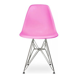 Ariel - Eames Style DSR Pink Dining Shell Chair w/ Steel Eiffel Legs - Great looking, sturdy, and comfortable, the Eames Style DSR Molded Plastic Dining Shell Chair with Steel Eiffel Legs will beautifully compliment your rustic dining table, your mid-century furniture, or any indoor or outdoor theme. The contoured seats naturally fit the body to provide years of seating enjoyment.